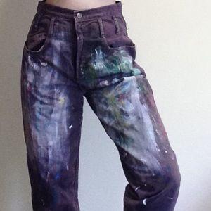 Vintage Maroon Painter's Jeans. Size 11.